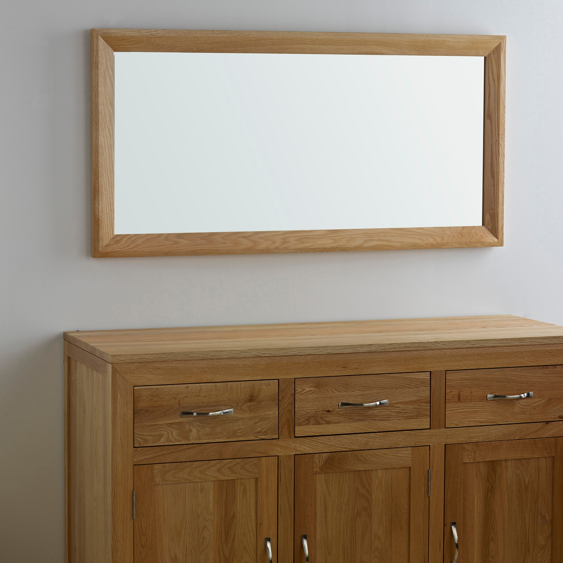 Bevel Natural Solid Oak Wall Mirror Oak Furniture Land Inside Oak Wall Mirrors (Image 1 of 15)