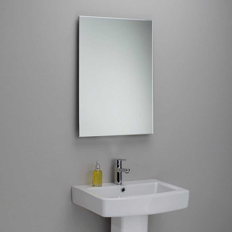 Beveled Bathroom Mirrors Frameless Creative Bathroom Decoration Within Large Frameless Mirrors (Image 4 of 15)