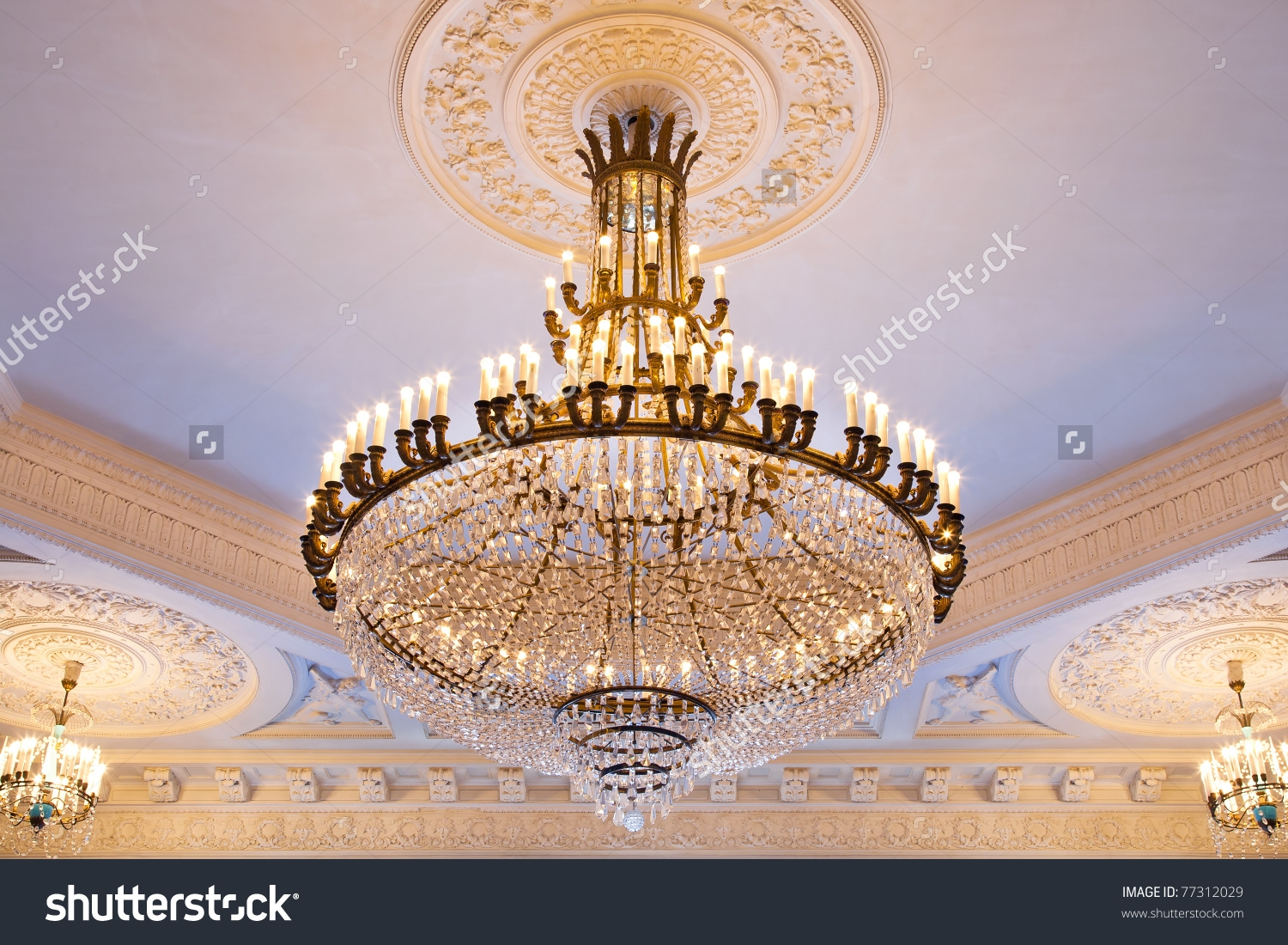 Big Crystal Chandelier Ancient Palace Stock Photo 77312029 With Big Crystal Chandelier (Image 3 of 15)