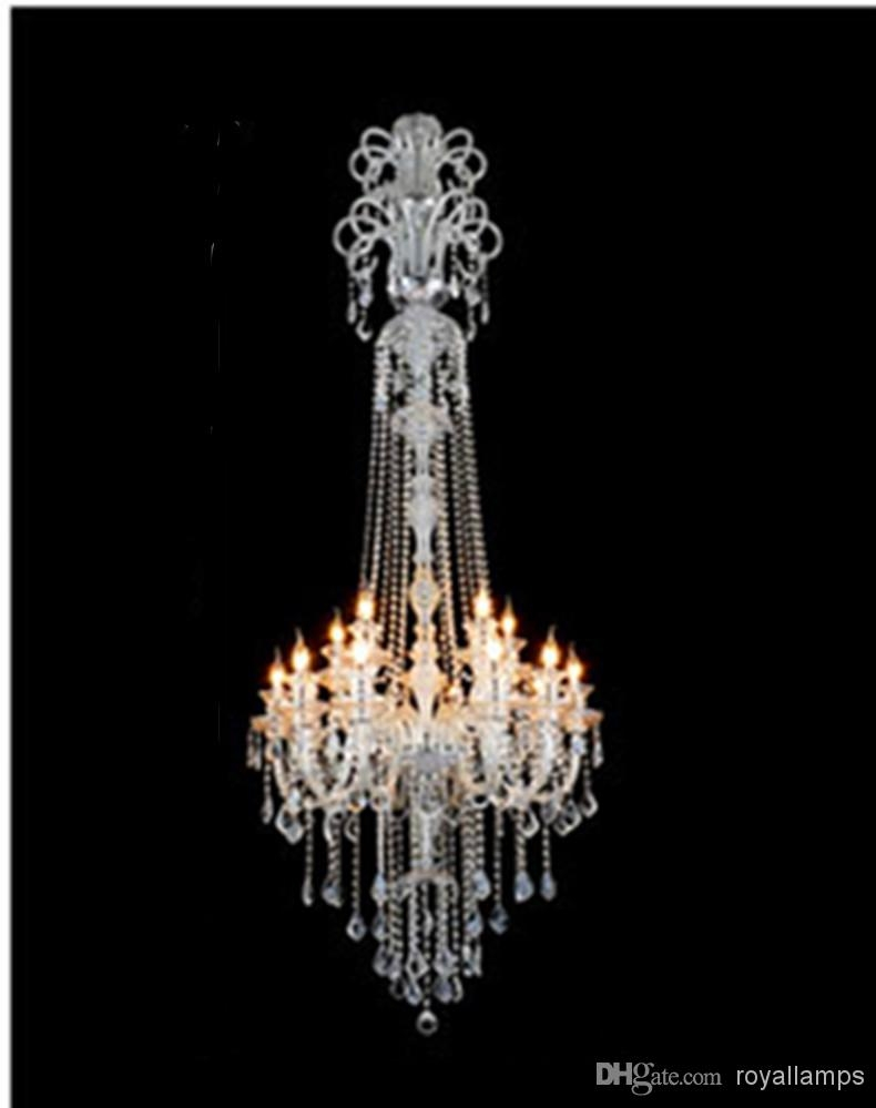Big Crystal Chandelier Hanging Lights Led Lamps 15 Glass Arms H2 Intended For Big Crystal Chandelier (Image 4 of 15)