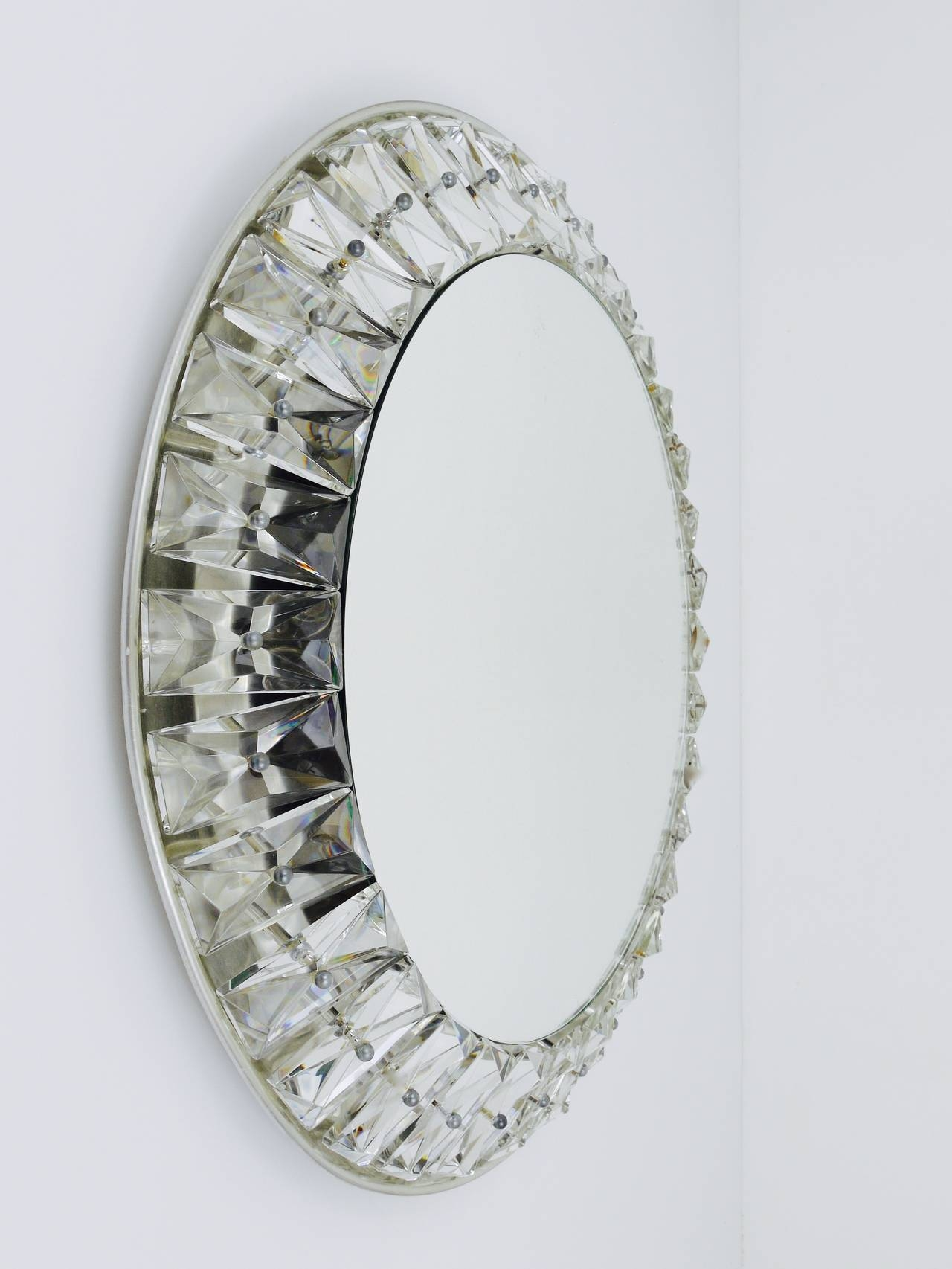 Big Round Bakalowits Backlit Wall Mirror With Huge Crystals Regarding Wall Mirror With Crystals (Image 2 of 15)