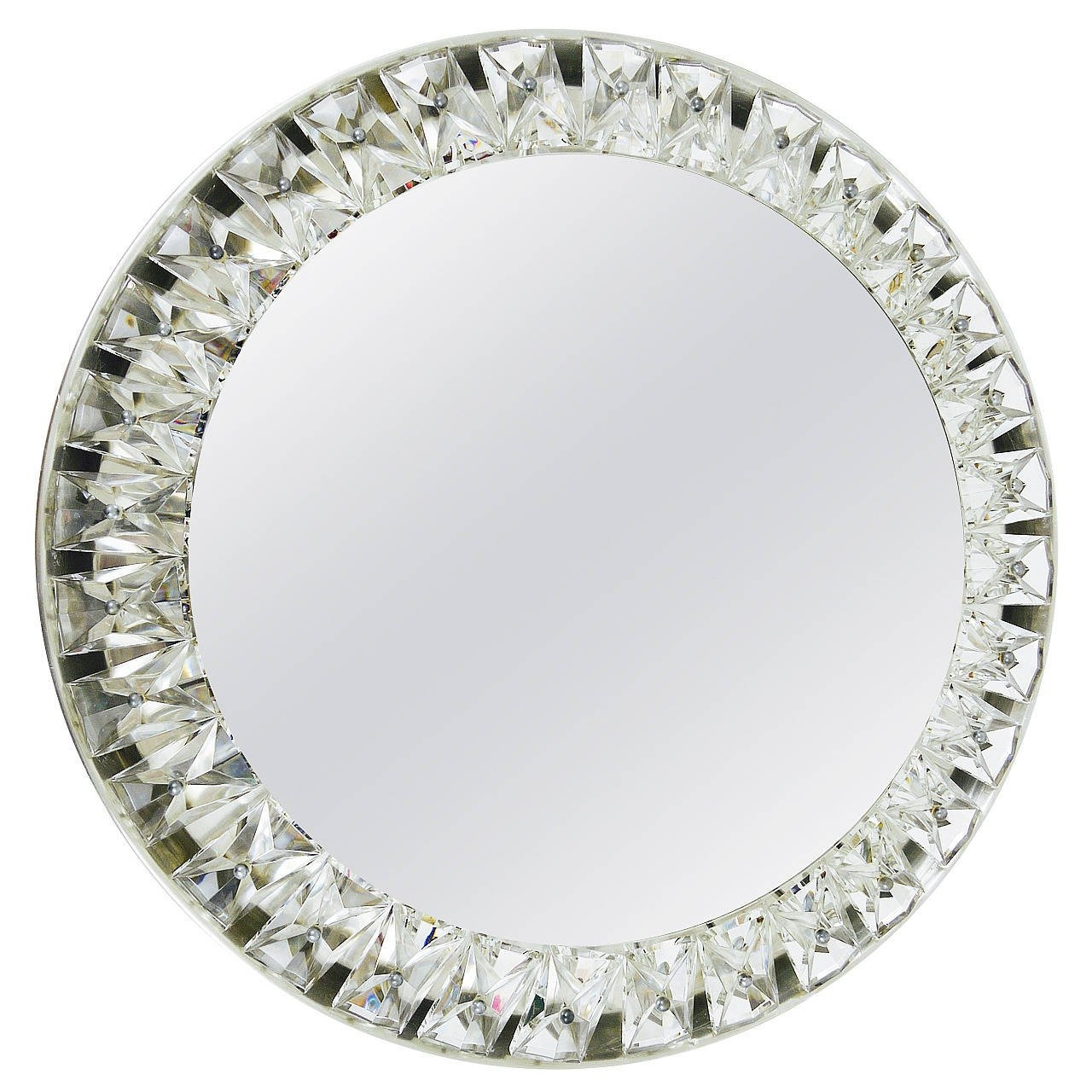 Big Round Bakalowits Backlit Wall Mirror With Huge Crystals Throughout Wall Mirror With Crystals (Image 3 of 15)
