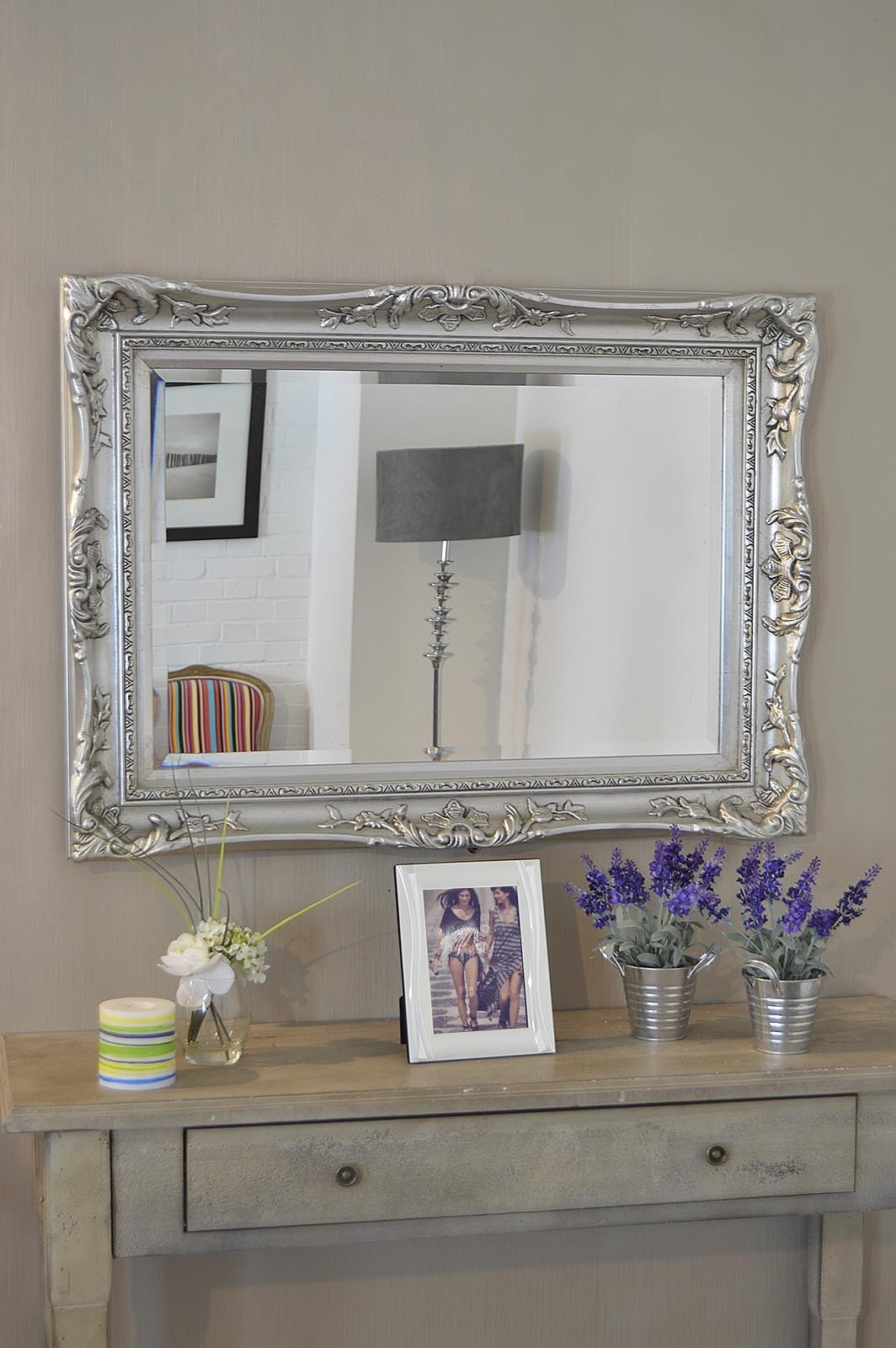 Featured Image of Large Ornate Silver Mirror