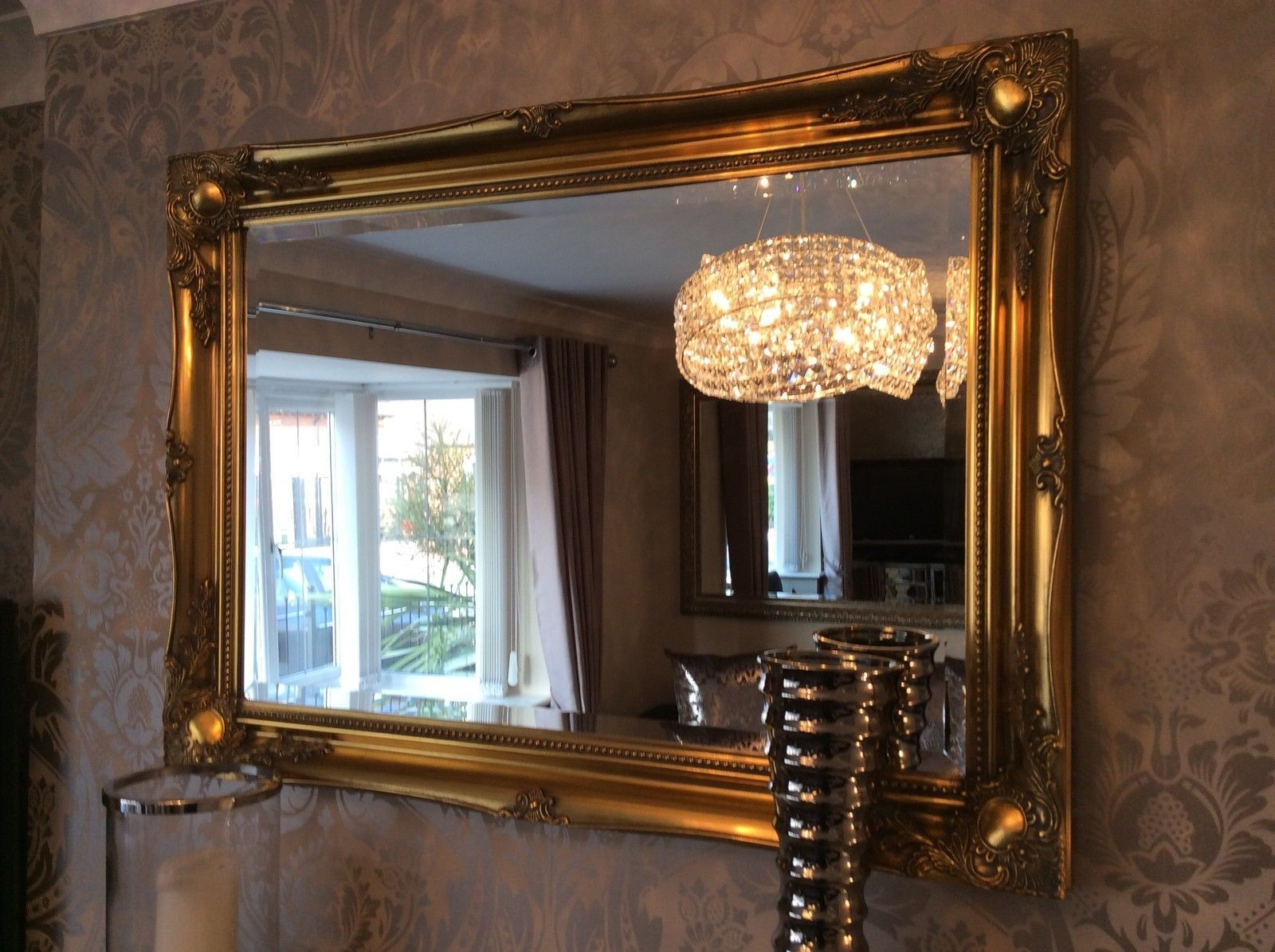 Big Wall Mirrors Uk Pavillion Mirror Large Quirky Art Deco Wall Within Gold Shabby Chic Mirror (Image 3 of 15)