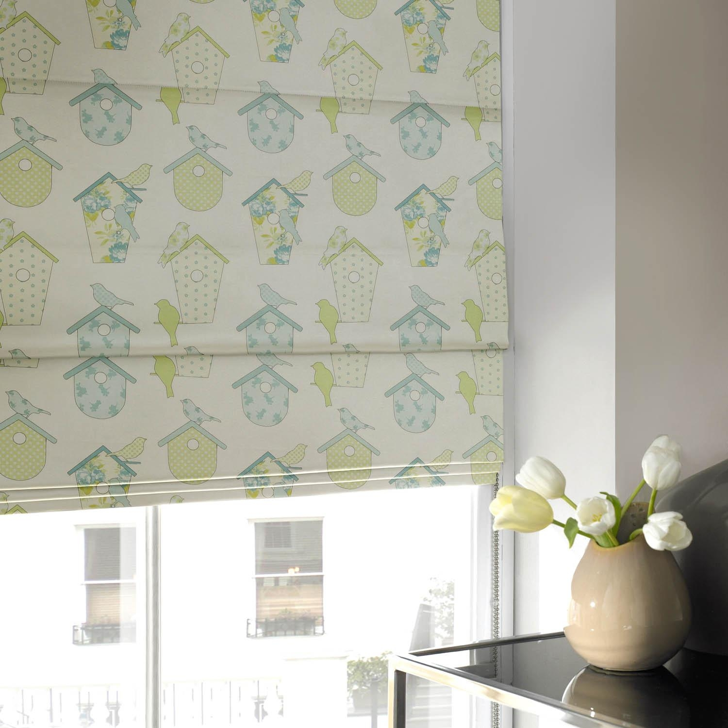 Bird House Roman Blind Spring Free Uk Delivery Terrys Fabrics Regarding Green Roman Blinds (Image 3 of 15)