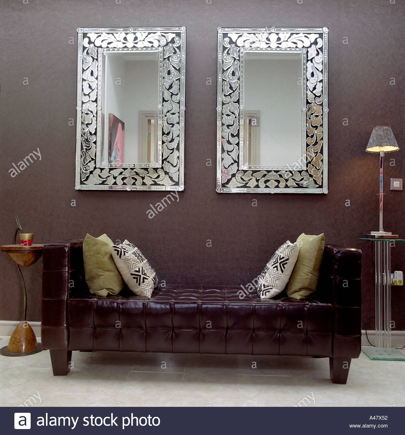 Birmingham Penthouse Leather Day Bed And Twin Mirrors Stock Photo Pertaining To Mirrors In Birmingham (Image 6 of 15)