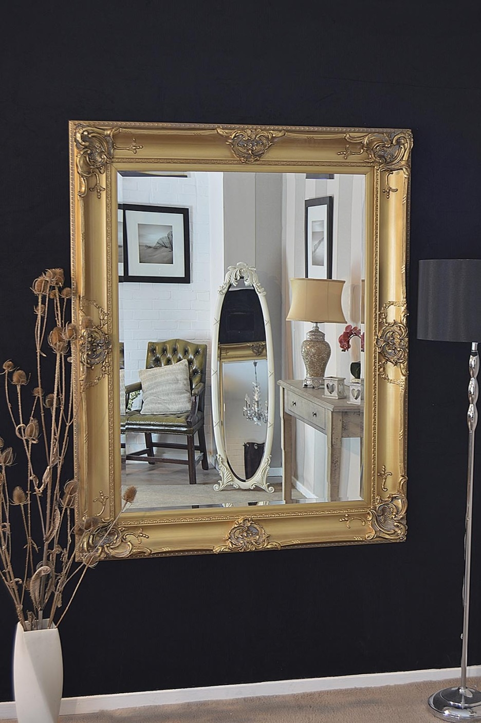 Black And Gold Framed Mirror Harpsoundsco With Regard To Black And Gold Wall Mirror (Image 4 of 15)