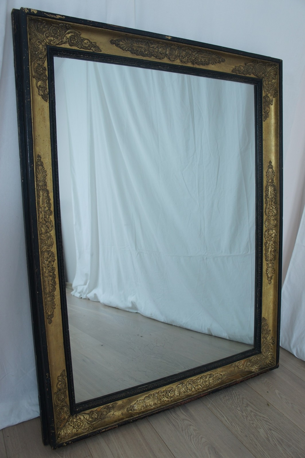 Black And Gold Rectangular French Mirror The Hoarde Regarding Vintage French Mirror (Image 9 of 15)