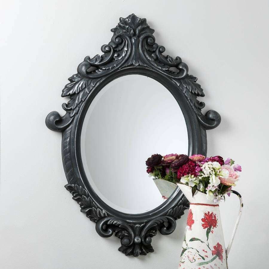 Black And Silver Ornate Oval Mirror Hand Crafted Mirrors With Oval Black Mirror (Image 3 of 15)