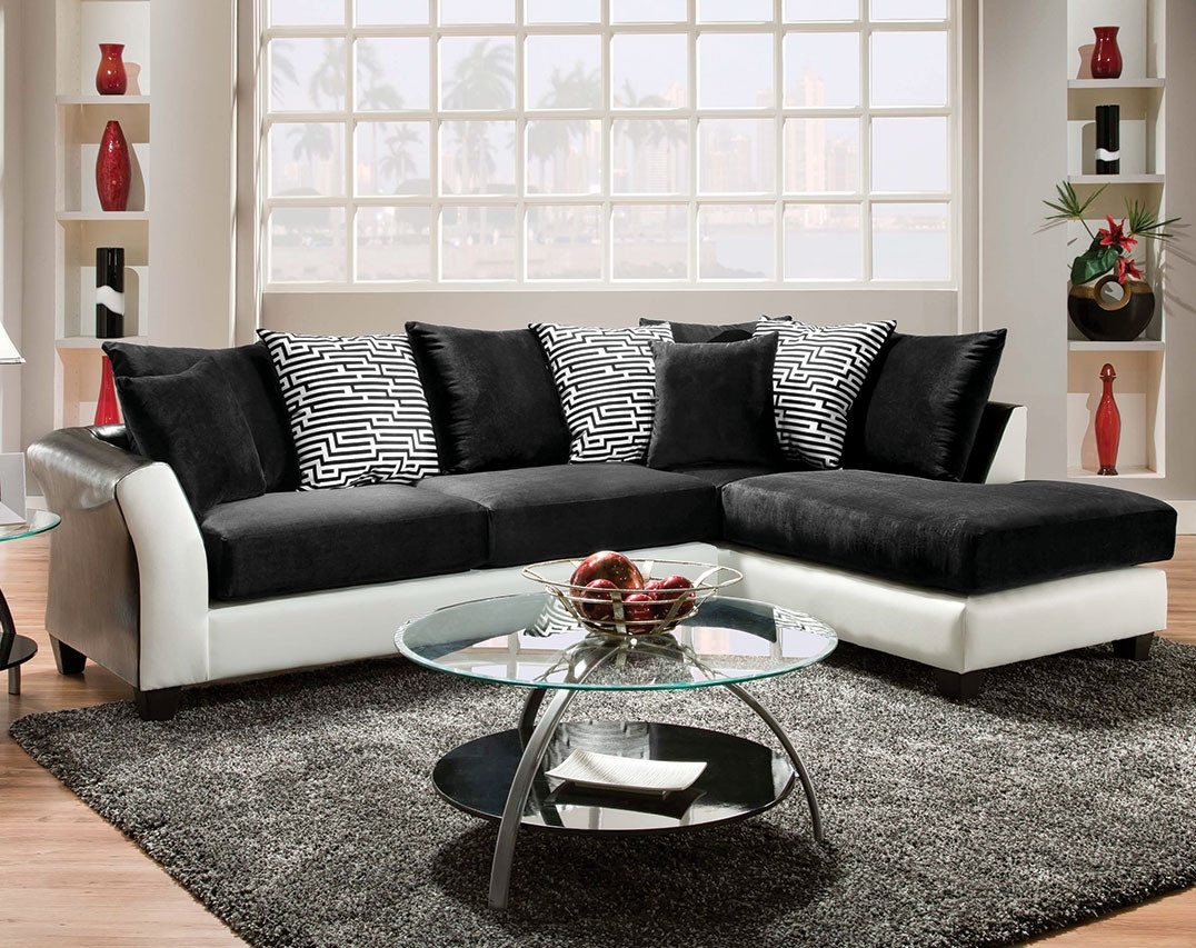 Black And White Couch Pattern Pillows Zigzag 2 Piece Sectional Throughout Black And White Sectional Sofa (Image 4 of 15)