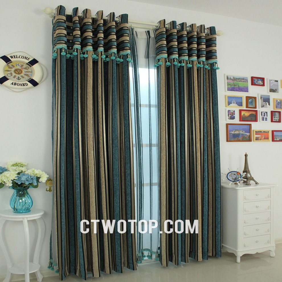 Black And White Striped Curtains Horizontal Blue Striped Curtains Within Multi Coloured Striped Curtains (Image 1 of 15)
