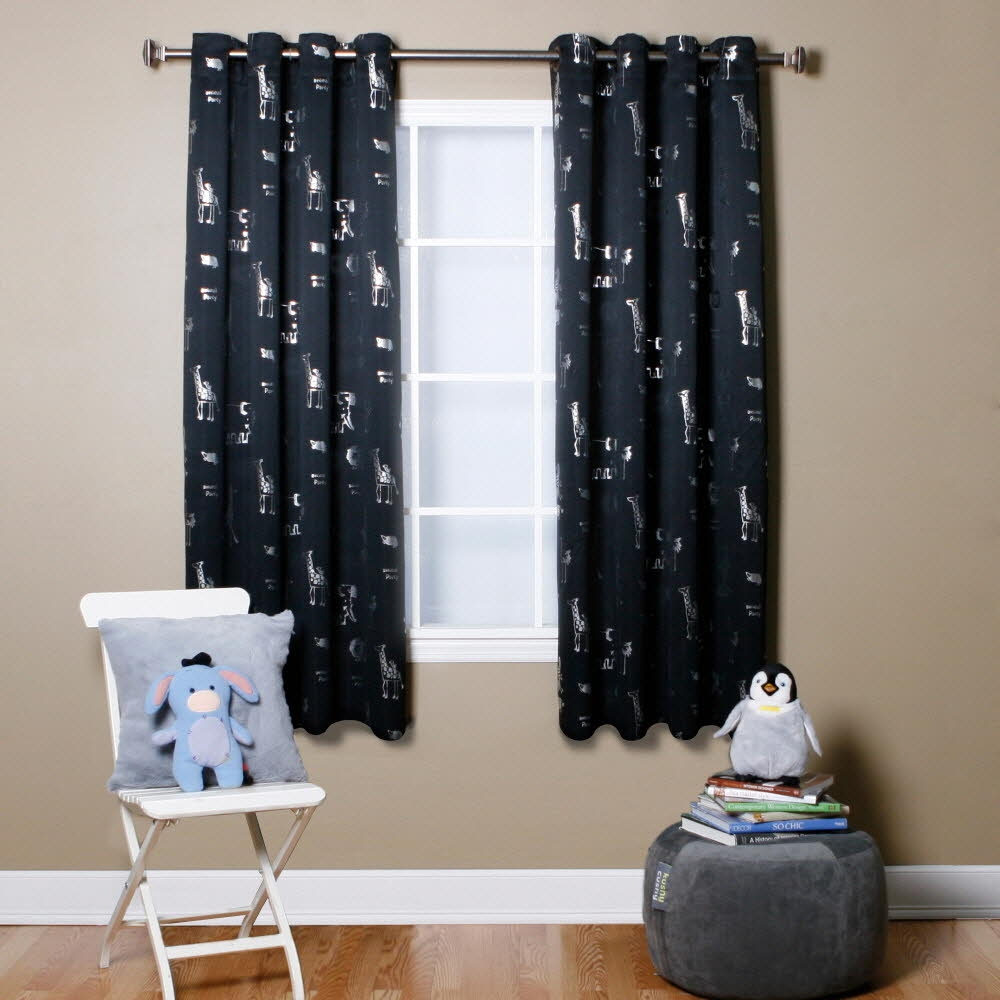 Black Animal Foil Printed Thermal Insulated Blackout Curtains 104 In Thermal And Blackout Curtains (Image 5 of 15)