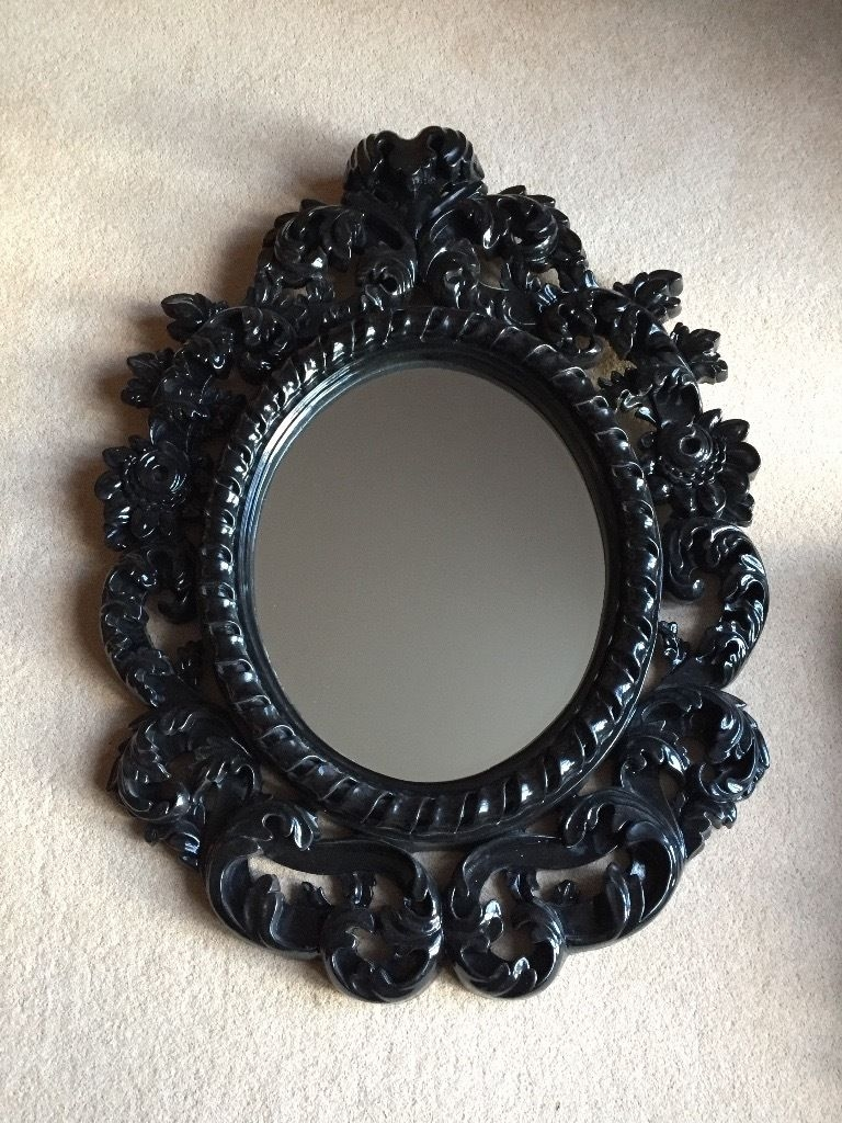 Black Baroque Mirror 99cm 736cm Slight Frame Damage In Pertaining To Black Baroque Mirror (Image 7 of 15)