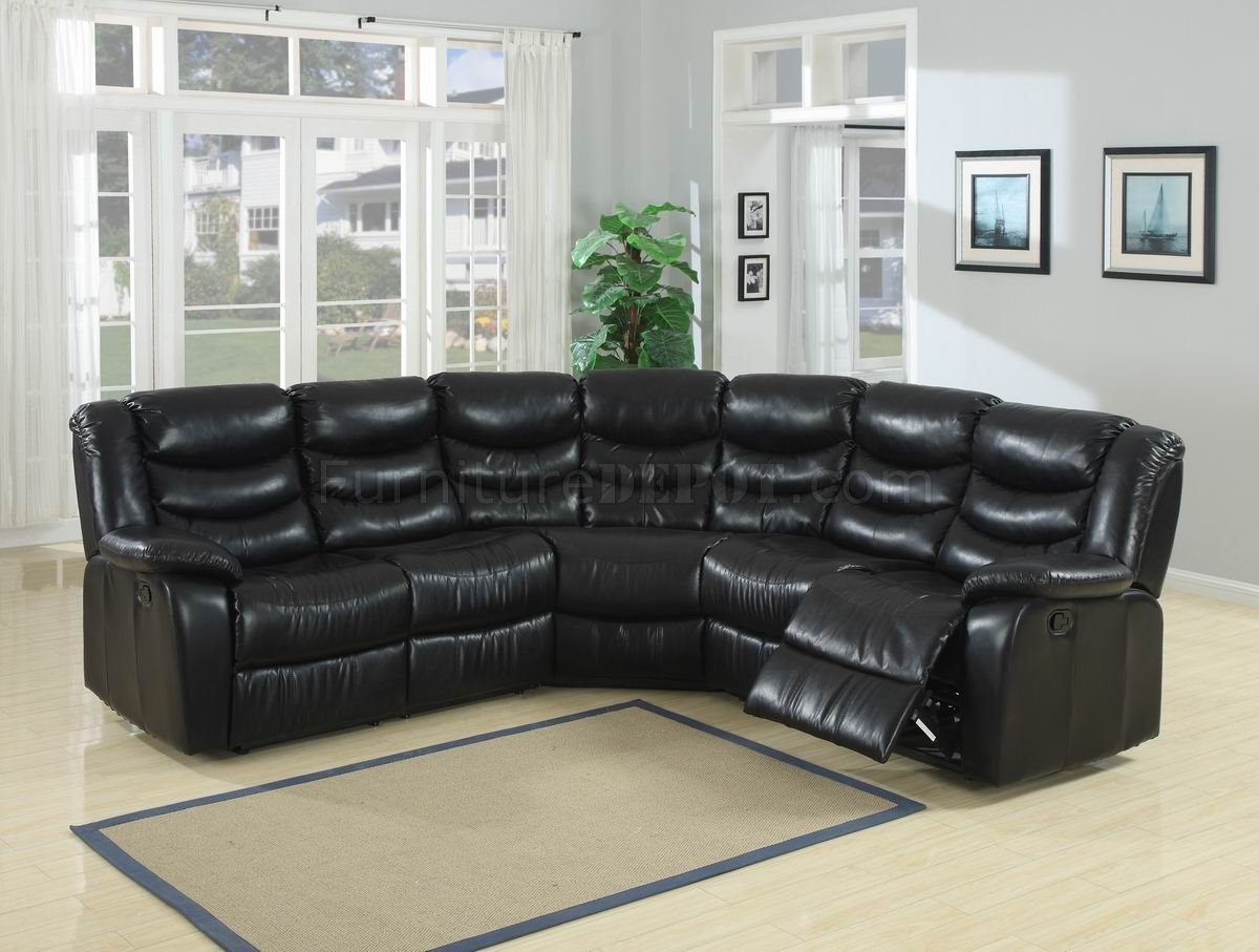 Black Durable Bonded Leather Modern Reclining Sectional Sofa Regarding Durable Sectional Sofa (Image 8 of 15)