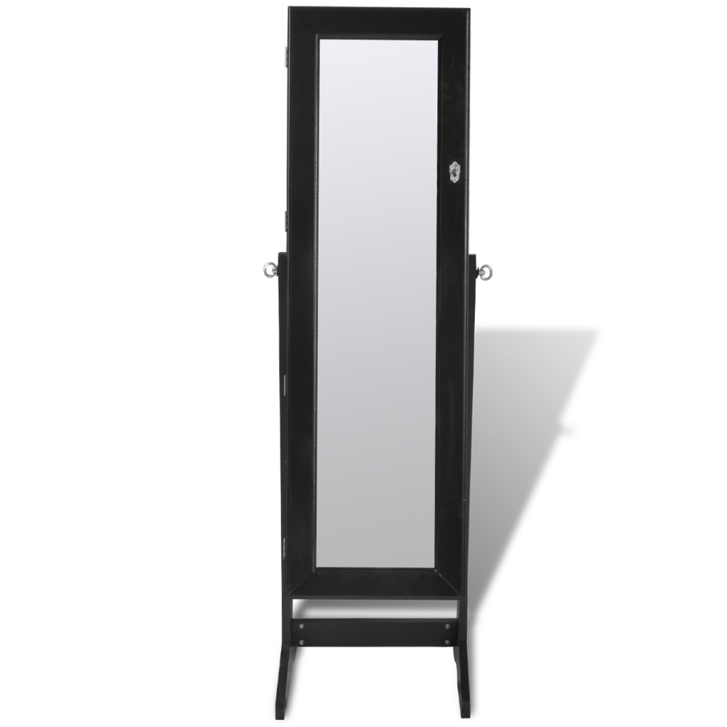 Black Free Standing Jewelry Cabinet With Led Light And Mirror Regarding Black Free Standing Mirror (Image 5 of 15)