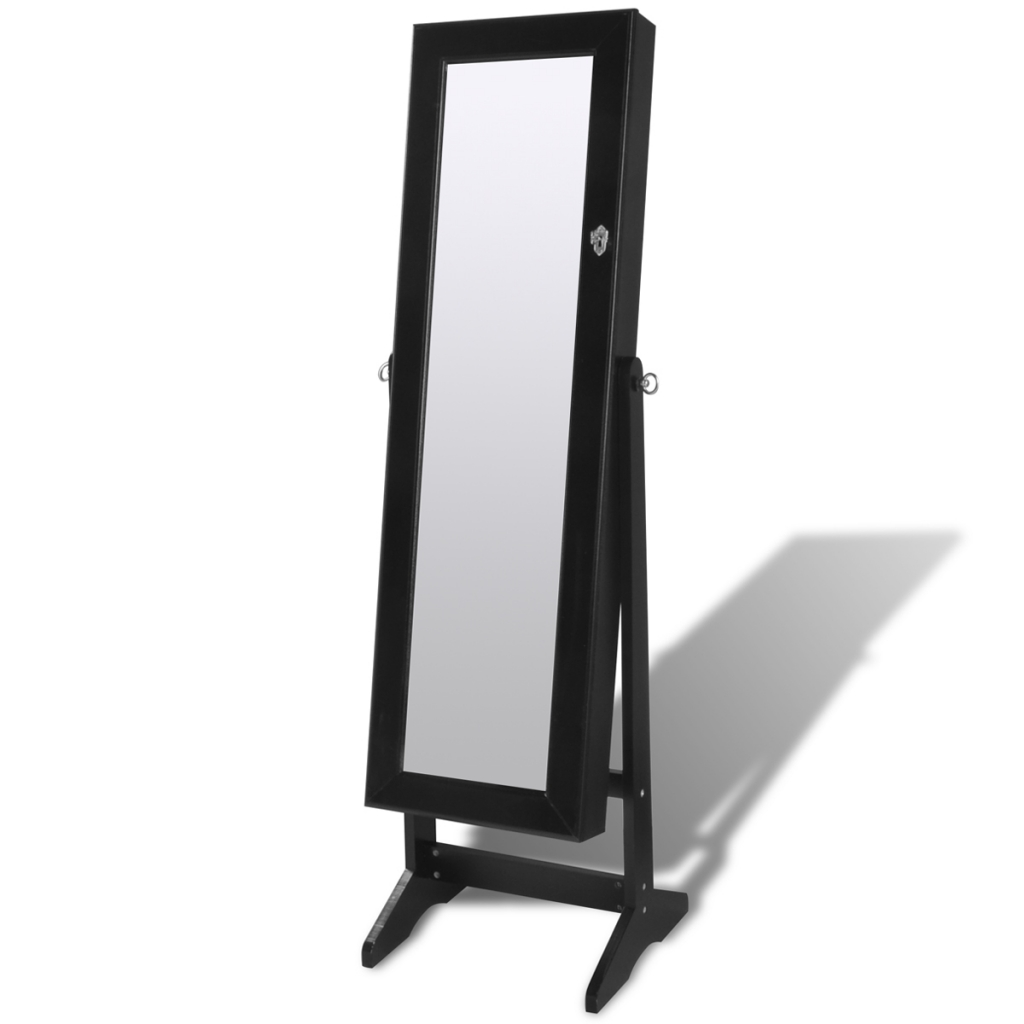 Black Free Standing Jewelry Cabinet With Led Light And Mirror Regarding Black Free Standing Mirror (Image 4 of 15)