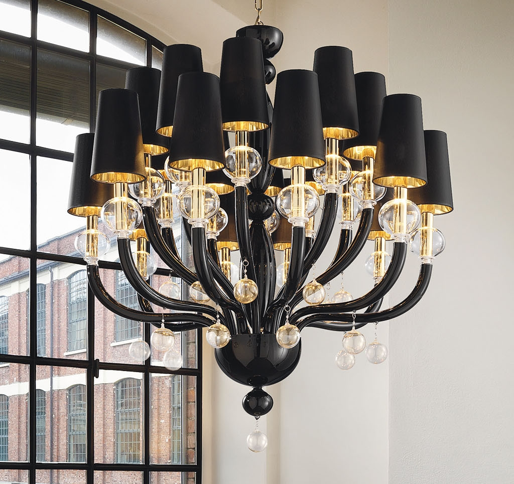 15 photos black glass chandelier chandelier ideas. Black Bedroom Furniture Sets. Home Design Ideas