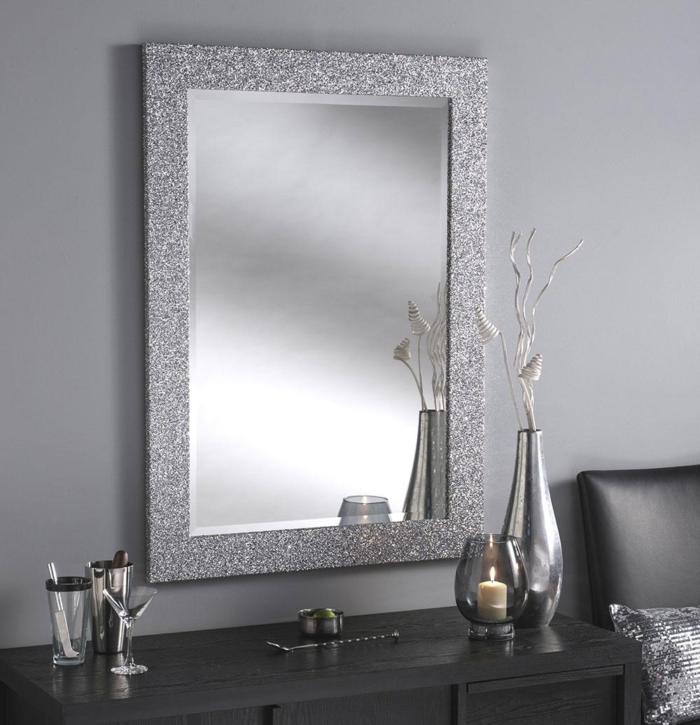 Black Glitter Bathroom Mirror Creative Bathroom Decoration Within Silver Glitter Mirror (Image 2 of 15)