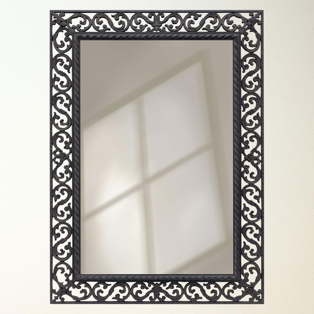 Black Iron Wall Mirror Mirror With Black Wrought Iron Frame For Inside Black Wrought Iron Mirror (Image 4 of 15)