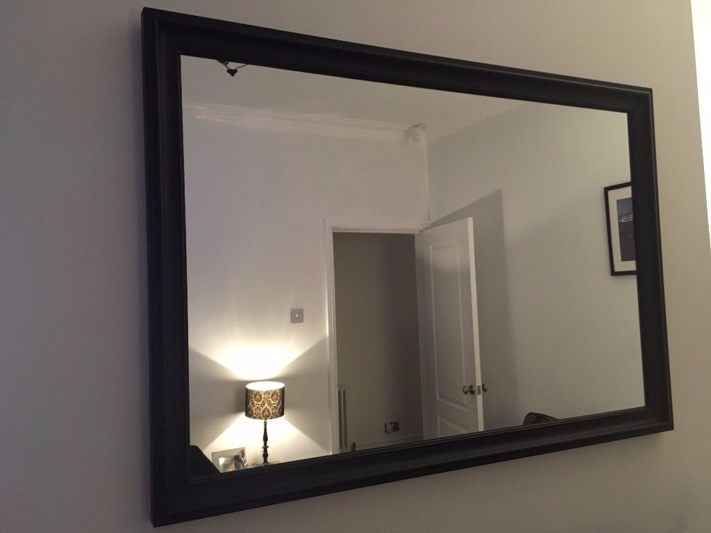 Black Large Mirror Wooden Frame Wall Hanging Excellent In Black Large Mirror (Image 6 of 15)