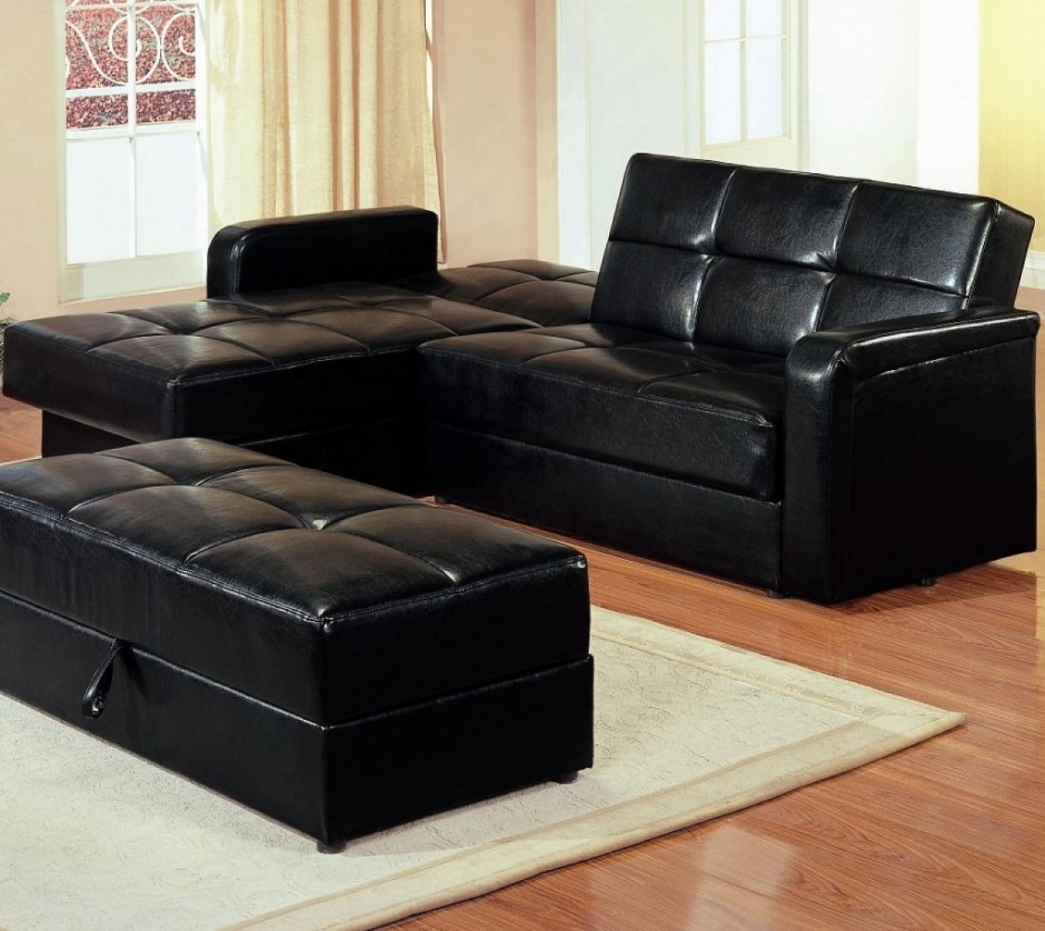 Black Leather Sectional Sleeper Sofa Ansugallery For 70 Sleeper Sofa (Image 9 of 15)