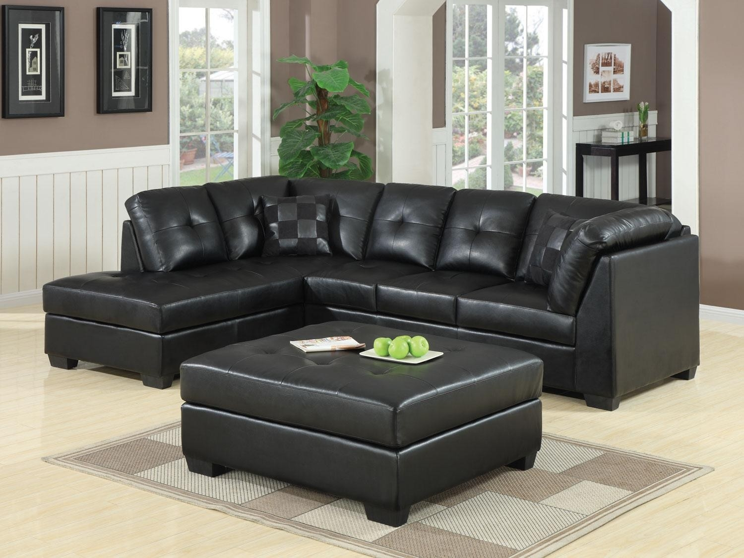 Black Leather Sectional Sofa With Chaise Hereo Sofa Within Contemporary Black Leather Sectional Sofa Left Side Chaise (Image 1 of 15)