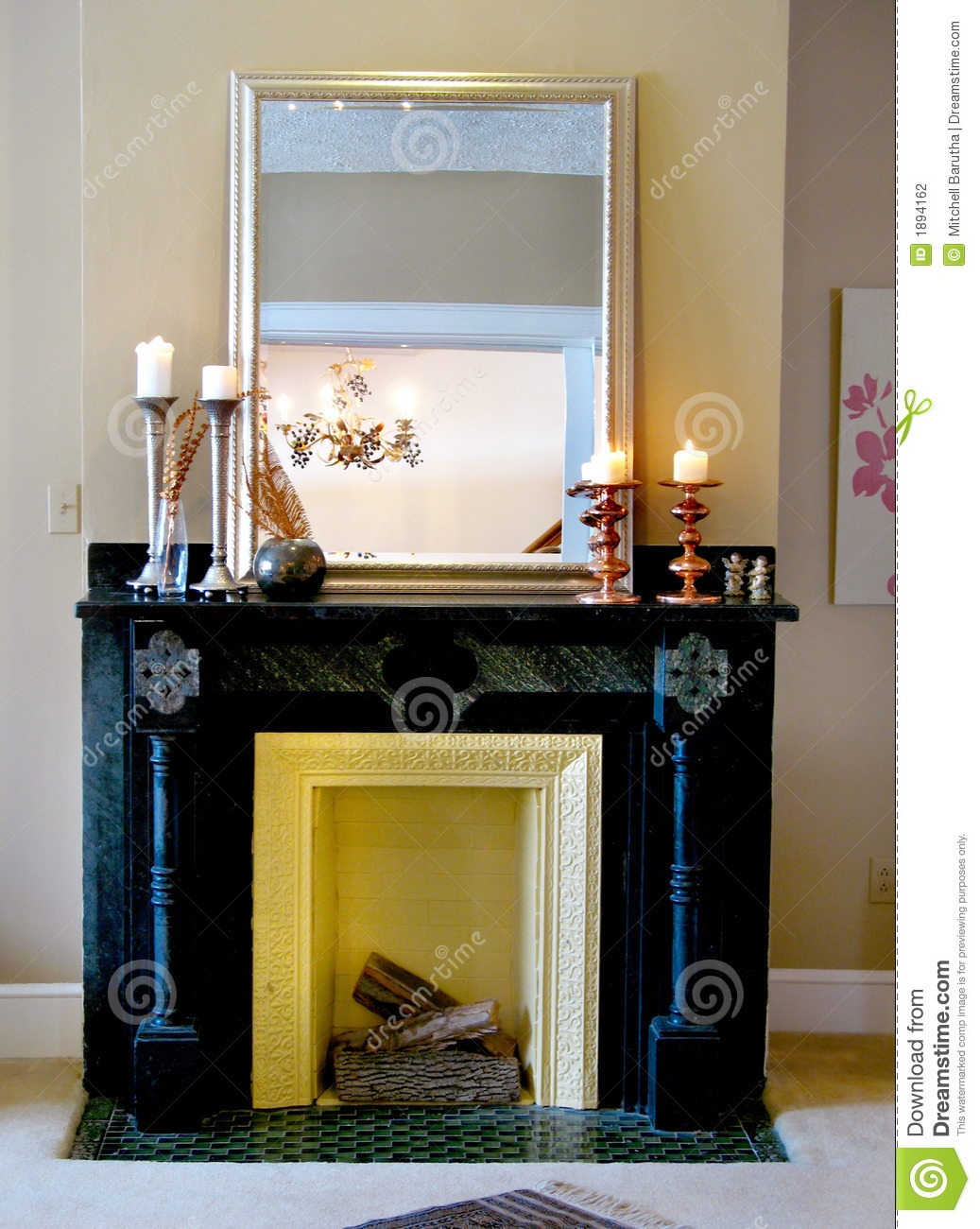 Black Mantle With Mirror Candlesticks Stock Photography Image Pertaining To Mirror For Mantle (Image 5 of 15)