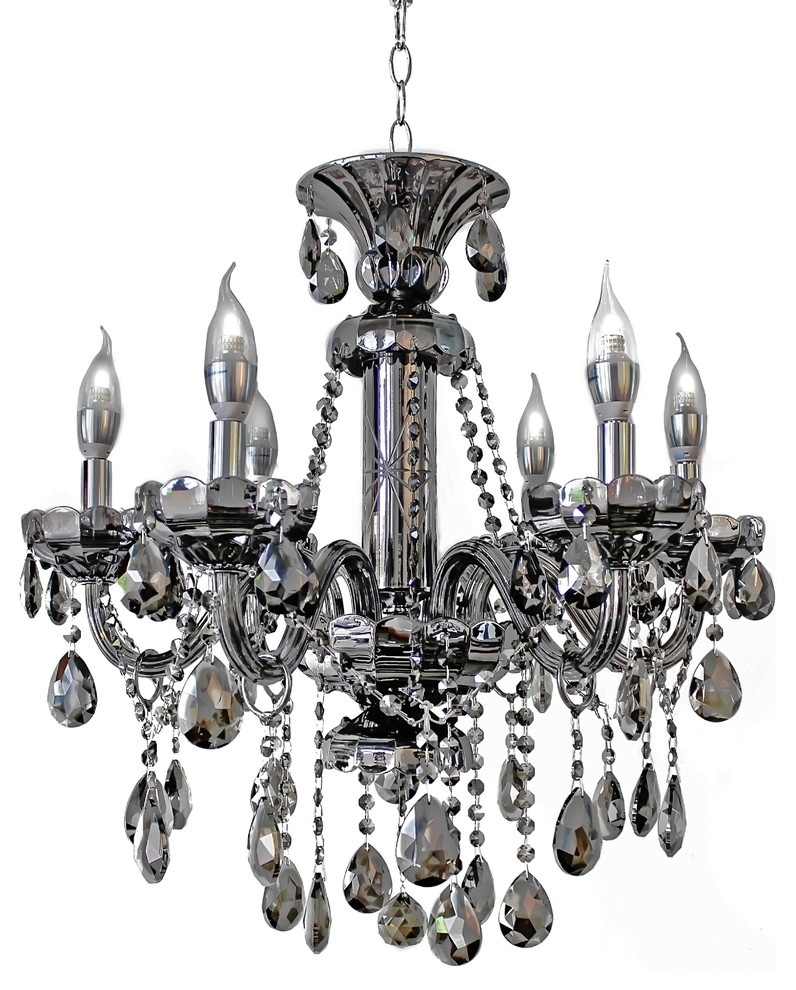 Black Modern Chandelier For Grey Crystal Chandelier (Image 2 of 15)