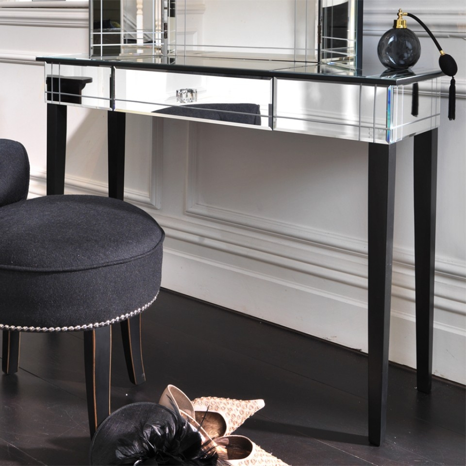 Black Orchid Luxury Art Deco Mirrored Dressing Table Or Console Regarding Art Deco Mirrored Dressing Table (Image 9 of 15)