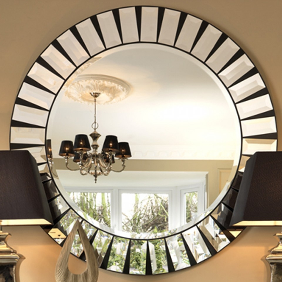 Black Orchid Luxury Quartz Round Mirror Furniture Mirrors Wall Pertaining To Round Art Deco Mirror (Image 6 of 15)