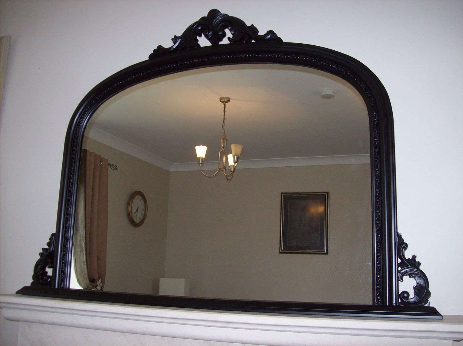 Black Ornate Arched Overmantle Mirror Large 50×36 127cm X 91cm Throughout Large Black Ornate Mirror (Image 3 of 15)