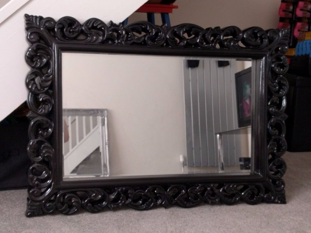 Black Ornate Mirror Heart Of House Isabella High Gloss Wall Regarding Black Ornate Mirrors (Image 5 of 15)
