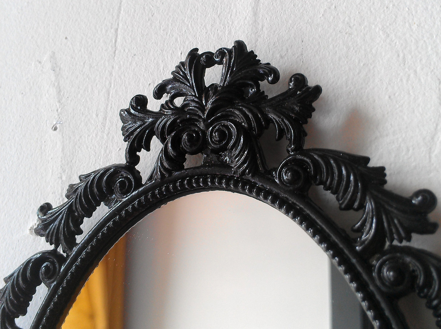 Black Oval Mirror In Vintage Brass Feather Frame Gothic With Regard To Oval Black Mirror (Image 5 of 15)