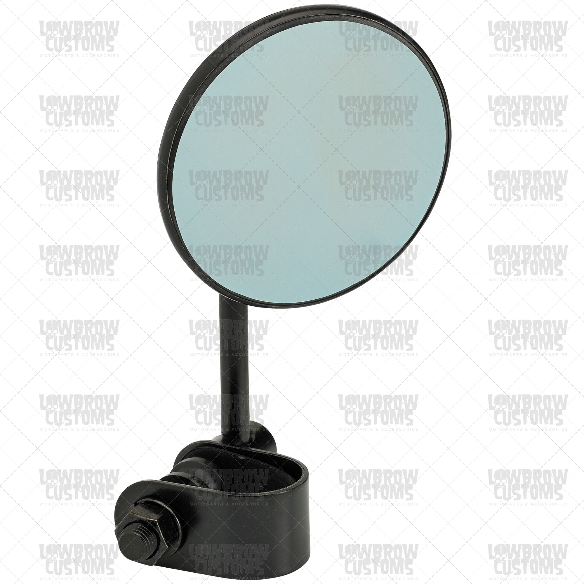 Black Retro Blue Glass 3 Round Mirror With Clamp Regarding Blue Round Mirror (Image 1 of 15)