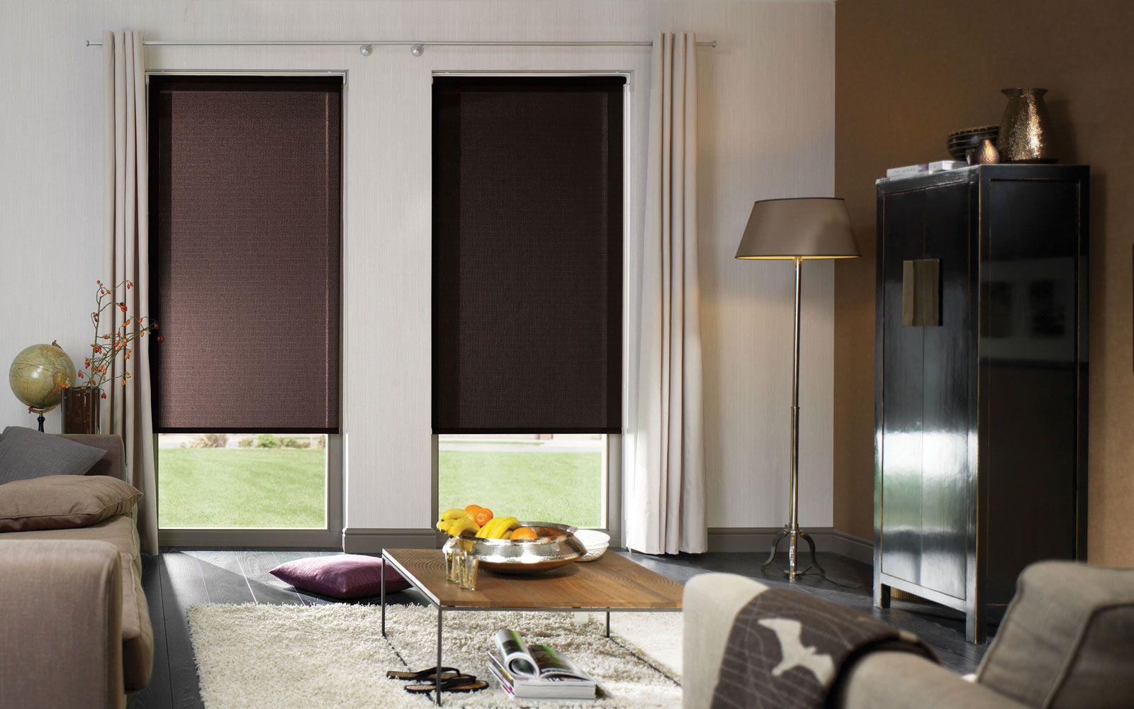 Black Roman Blinds Luxury Black Suede Roman Blinds White Bedroom Inside Black And White Roman Blinds (Image 3 of 15)