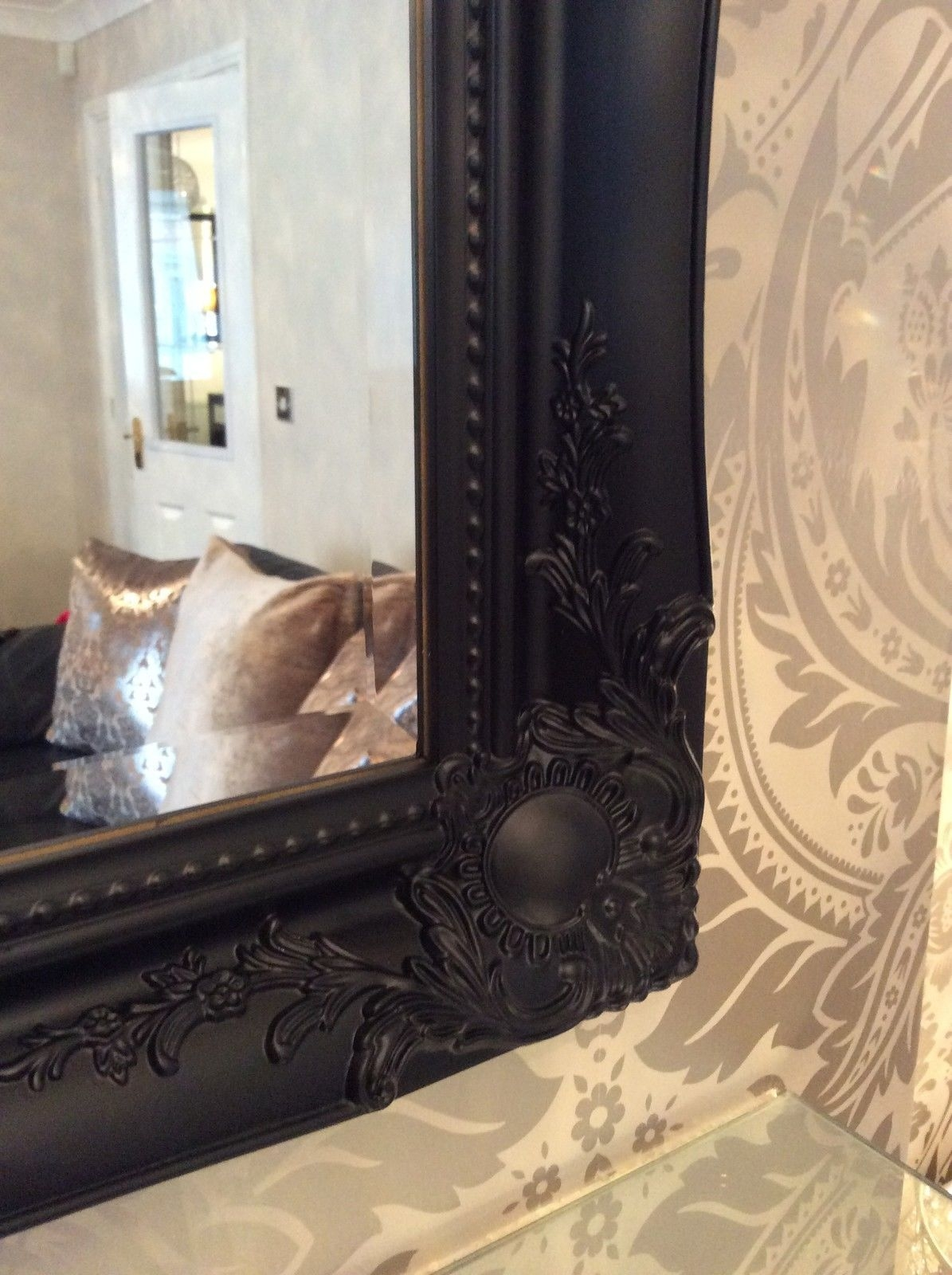 Black Shab Chic Framed Ornate Overmantle Wall Mirror Range Of Throughout Large Black Ornate Mirror (Image 4 of 15)