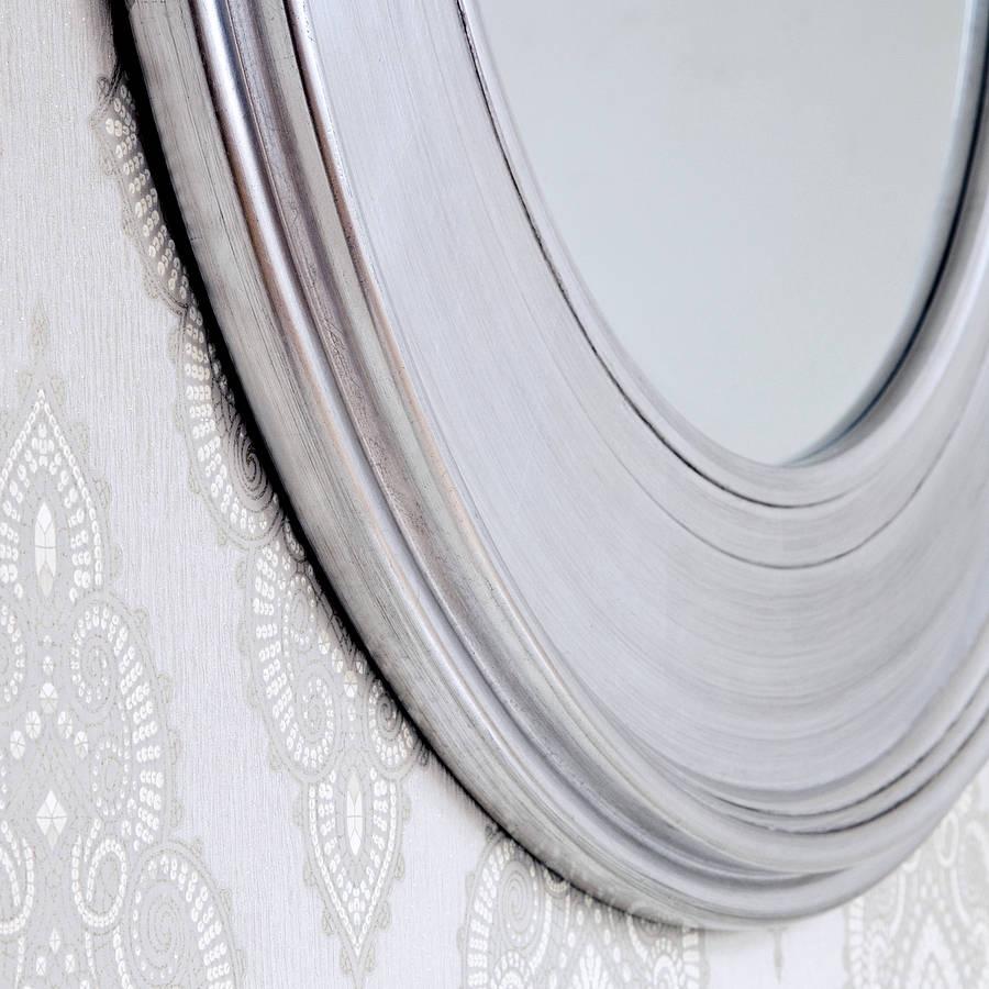 Black Silver Round Mirror Decorative Mirrors Online Within Silver Round Mirrors (Image 3 of 15)