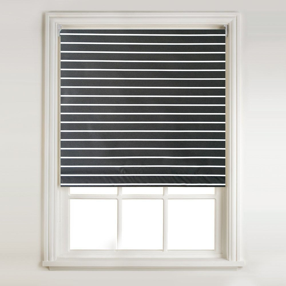 Black White Stripe Thermal Blackout Roller Blind Metal Bracket With Regard To Thermal Roller Blinds (View 6 of 15)
