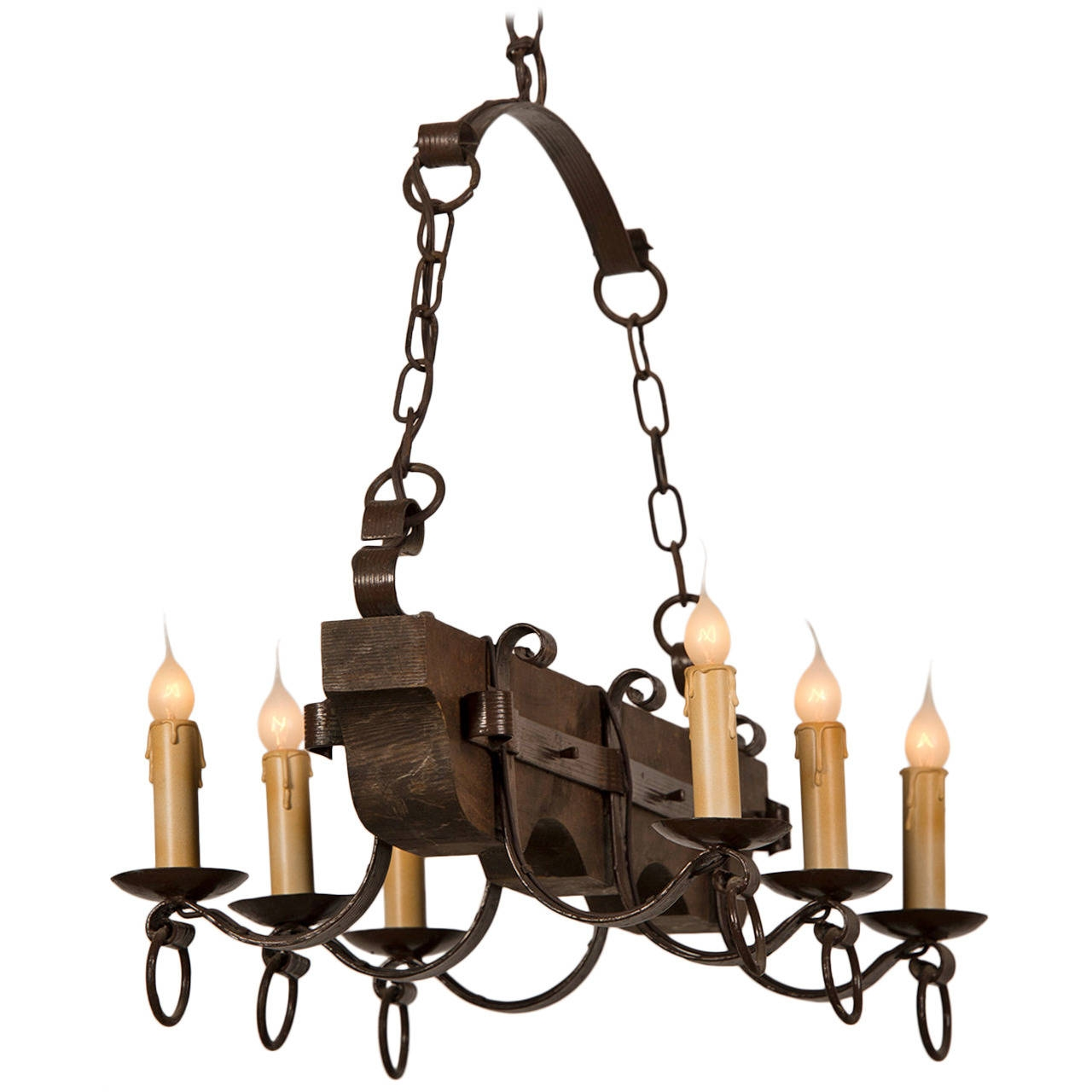Black Wrought Iron Chandelier Lighting Roselawnlutheran Regarding Vintage Wrought Iron Chandelier (Image 4 of 15)