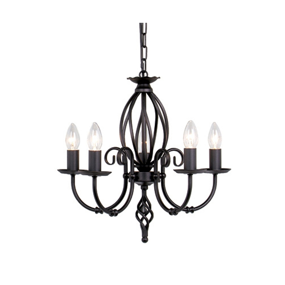 Black Wrought Iron Chandeliers Versailles 5 Light Black Wrought Throughout Black Iron Chandeliers (Image 9 of 15)