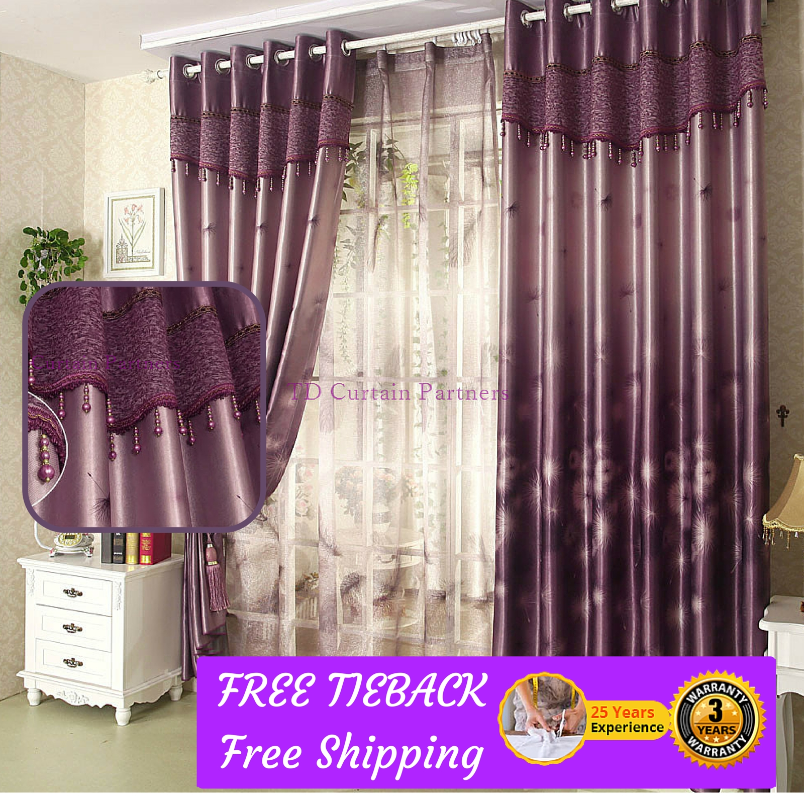 Blackout Purple Bedroom Curtains Fabric Valance Drapessheer Intended For Custom Made Blackout Curtains (Image 2 of 15)
