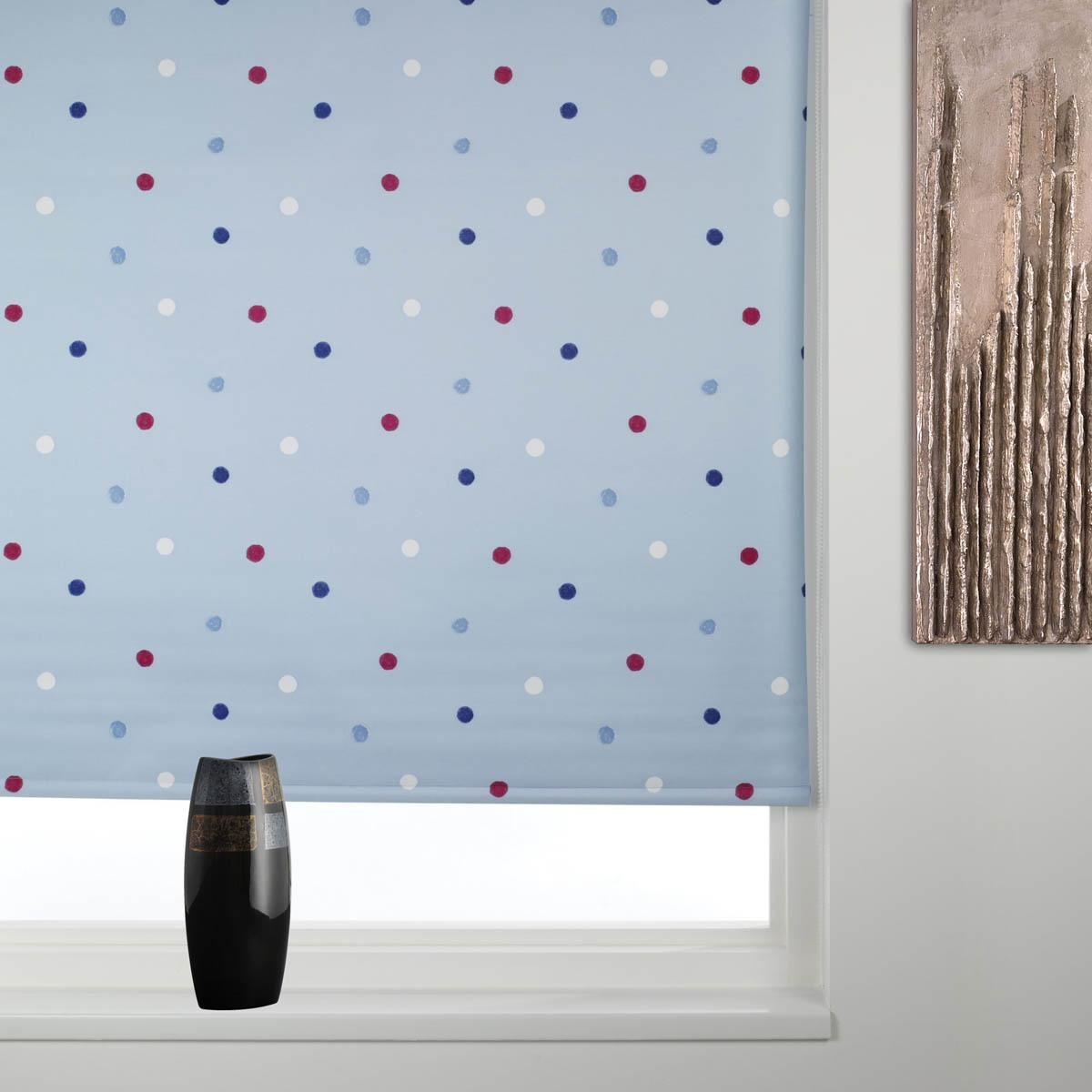 Blackout Roller Blind Dotty Blue Free Uk Delivery Terrys Fabrics Regarding Pattern Roller Blinds (Image 2 of 15)