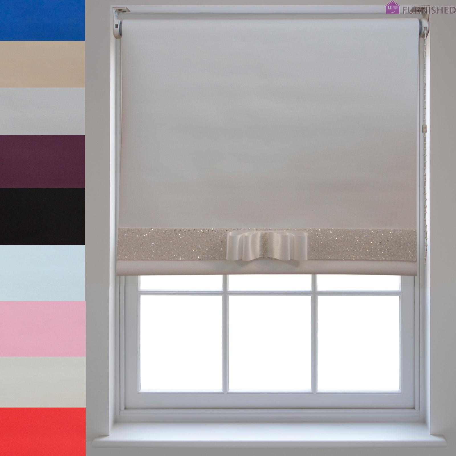 Blackout Roller Blinds Decorative Glitter Fabric Bow Quality With Thermal Roller Blinds (View 2 of 15)