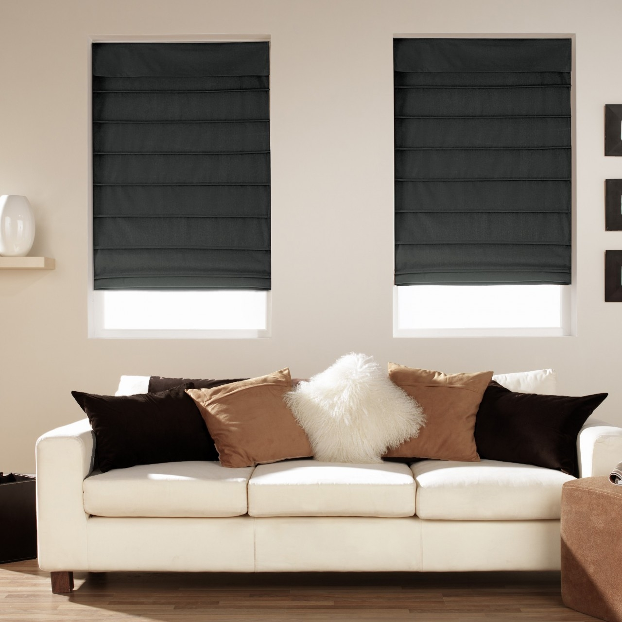 Blackout Roman Blind Natural Bamboo Roll Up Blind 60cm Roman With Black Roman Blinds (Image 4 of 15)