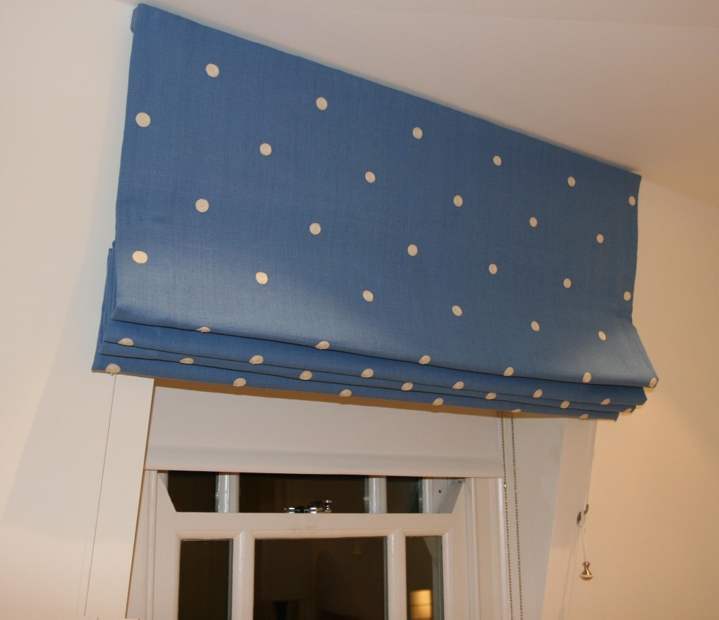 Blackout Roman Blind On Sloping Ceiling Combined With Dim Out Throughout Roman Blackout Blinds (Image 5 of 15)