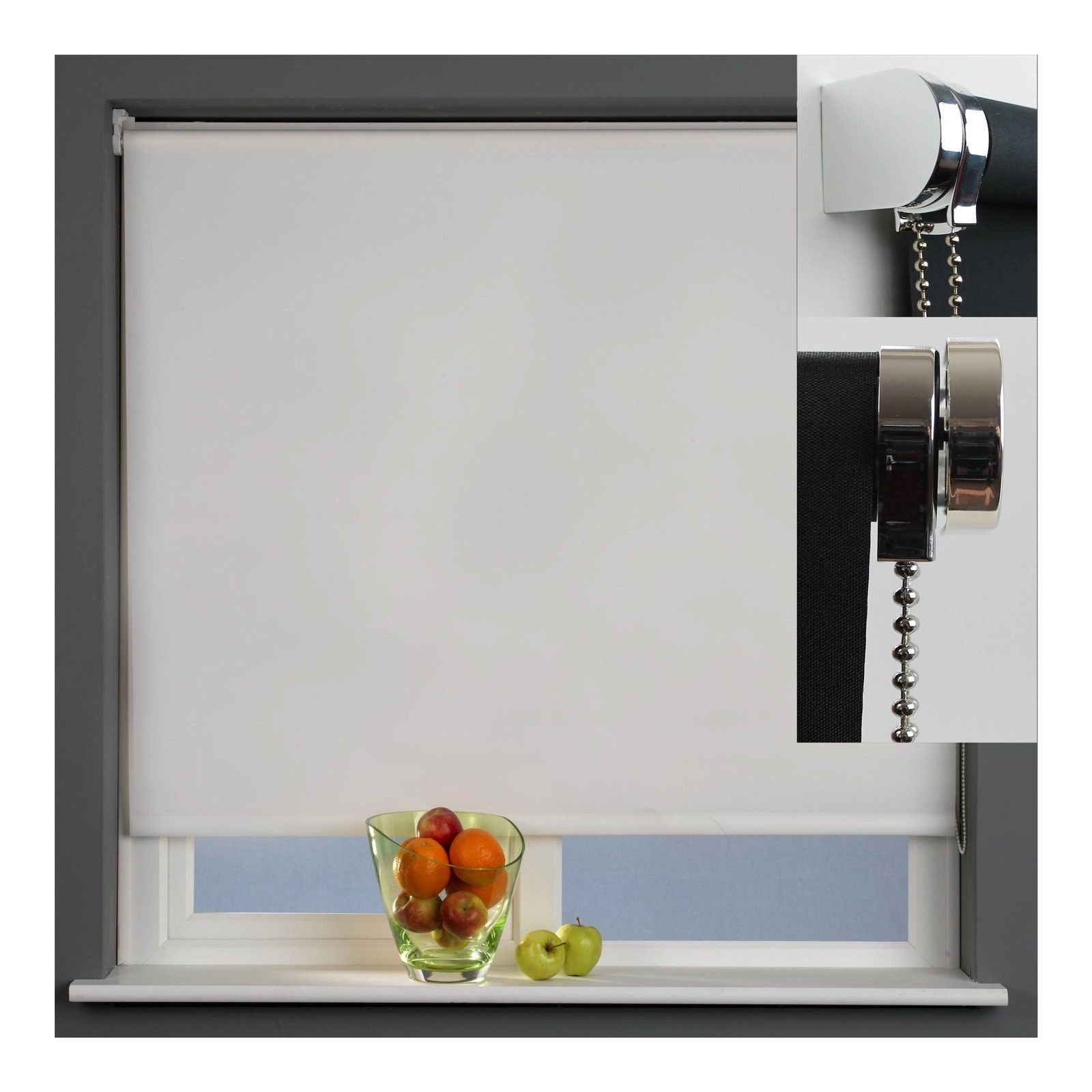 Blackout Thermal Roller Blind With Metal Brackets Silver With Thermal Roller Blinds (View 9 of 15)