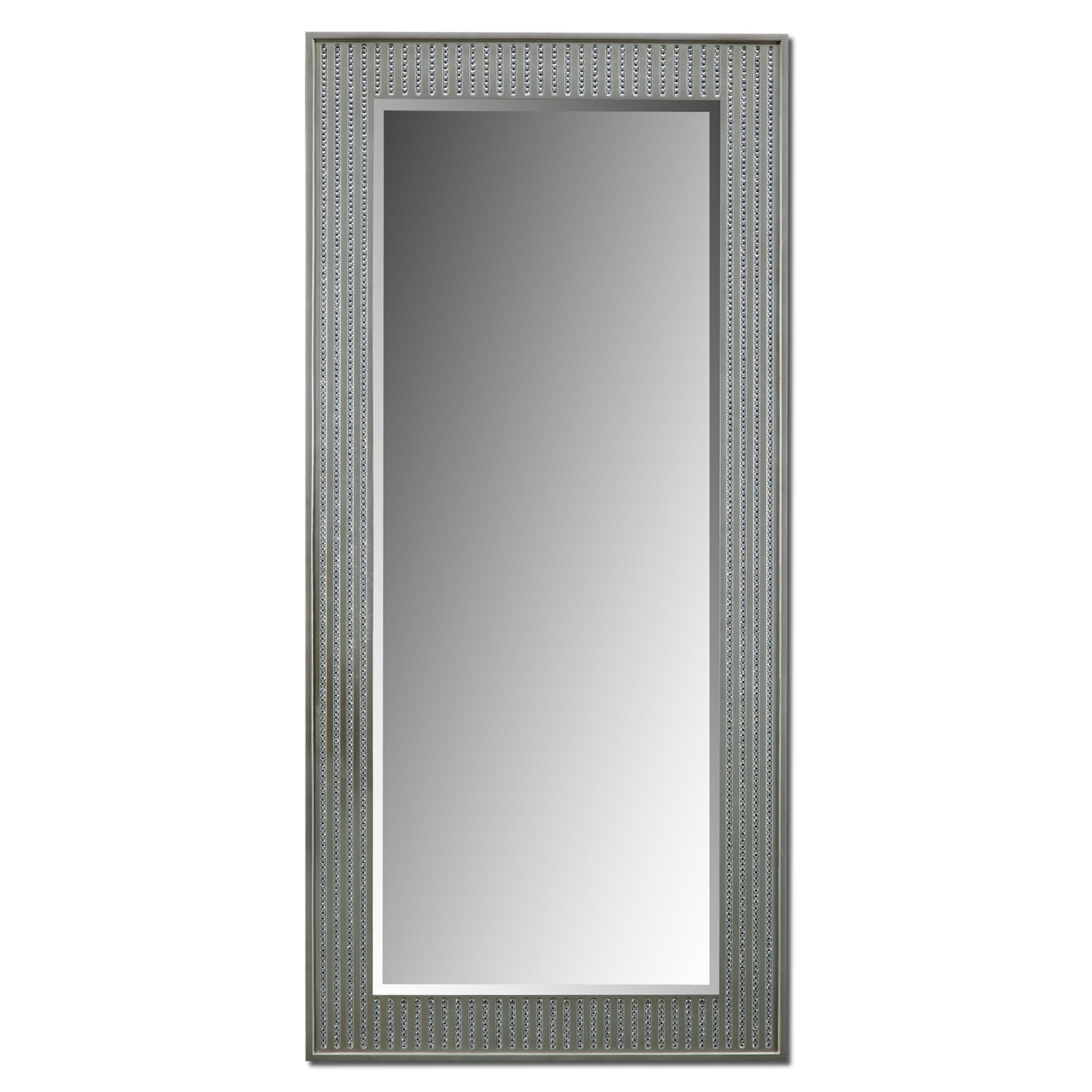 Bling Glam Floor Mirror Silver Value City Furniture Regarding Bling Floor Mirror (Image 5 of 15)