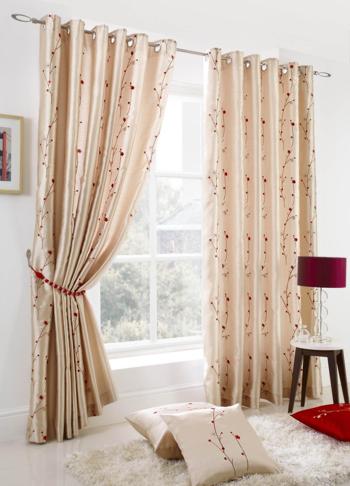 Blossom Eyelet Curtains Cream Free Uk Delivery Terrys Fabrics With Regard To Cream And Gold Eyelet Curtains (Image 4 of 15)