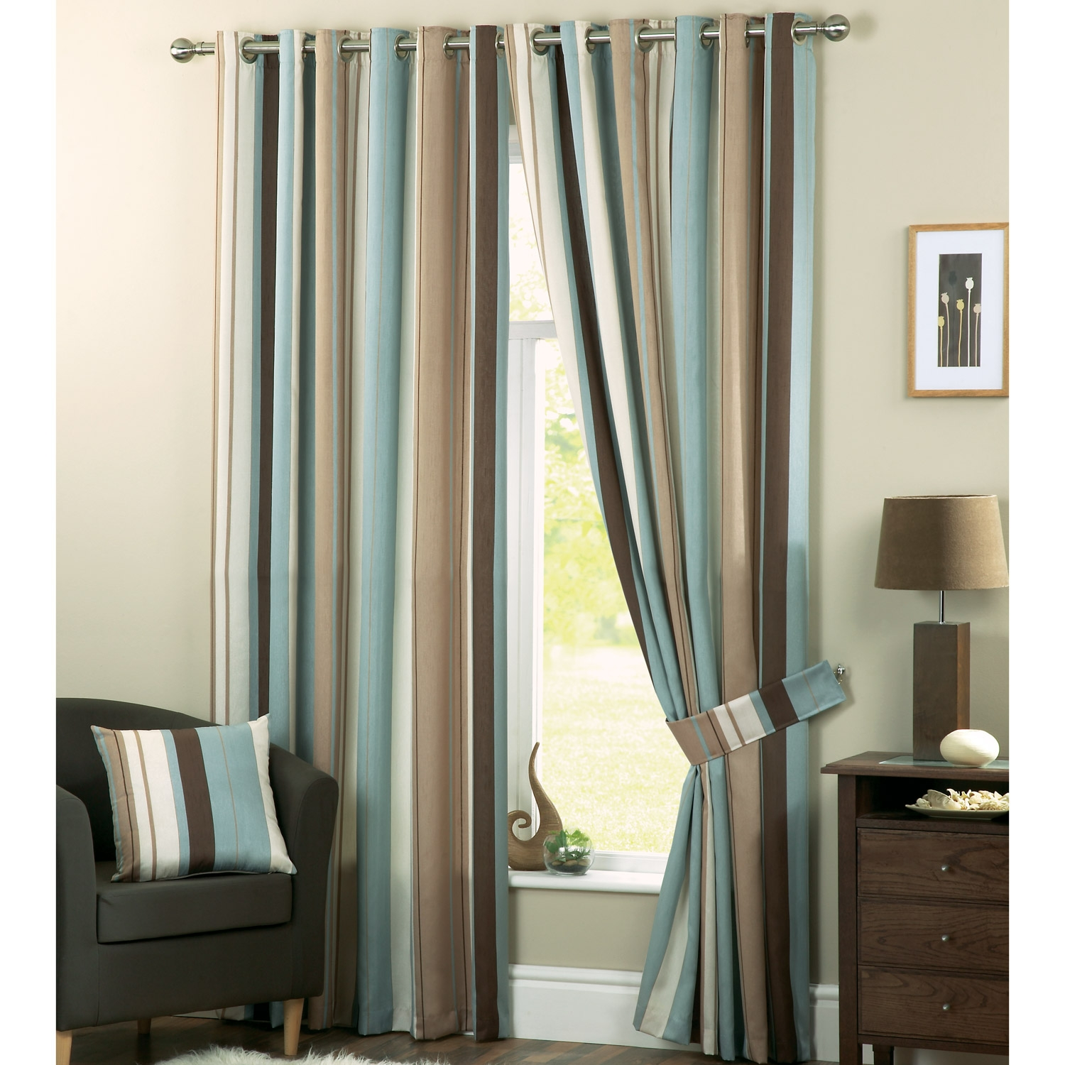 Blue And Cream Curtains Curtains Wall Decor In Green And Cream Striped Curtains (Image 3 of 15)