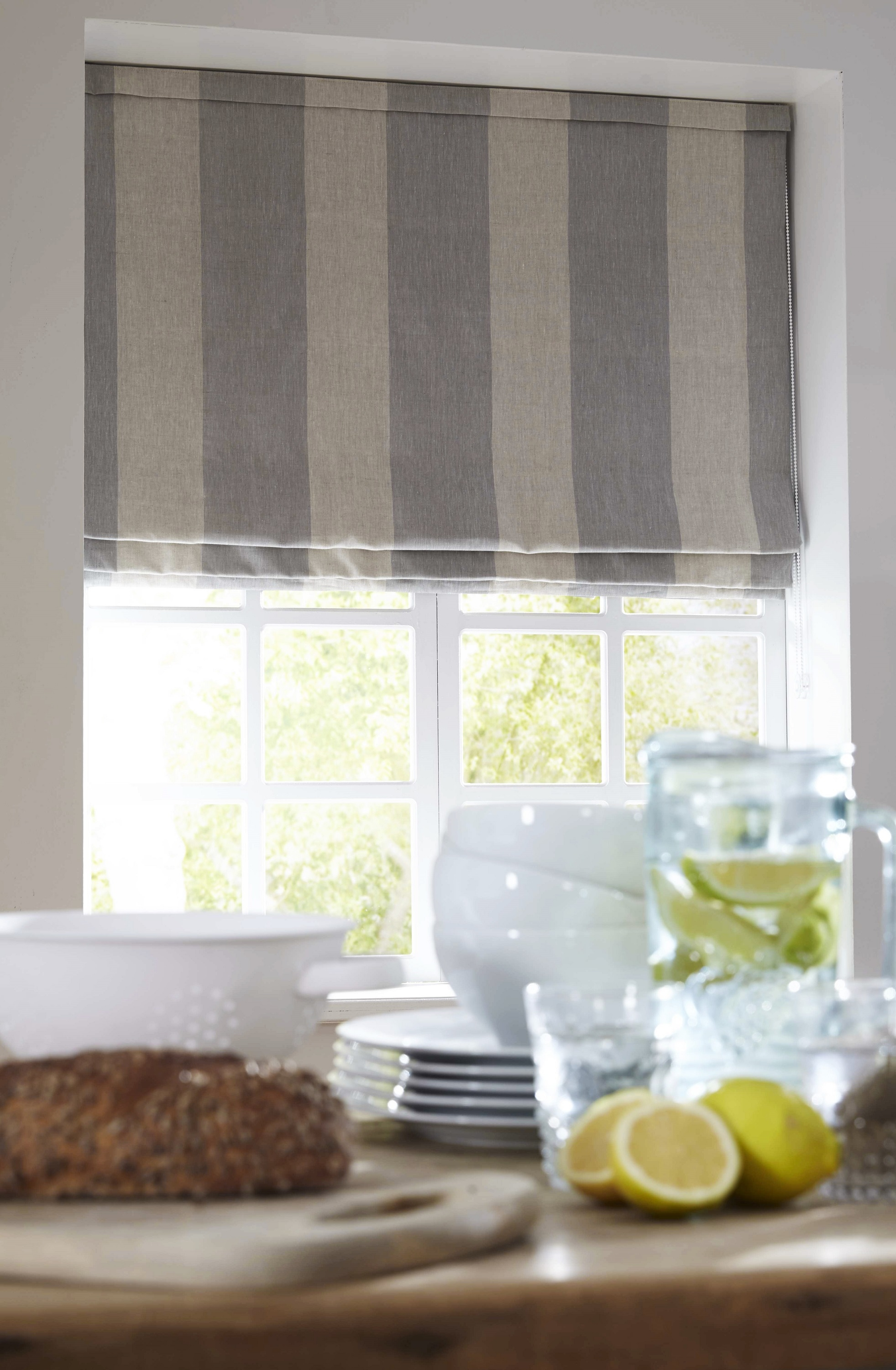 Blue And White Striped Country Kitchen Roman Blind Made With Within Blue And White Striped Roman Blinds (Image 2 of 15)